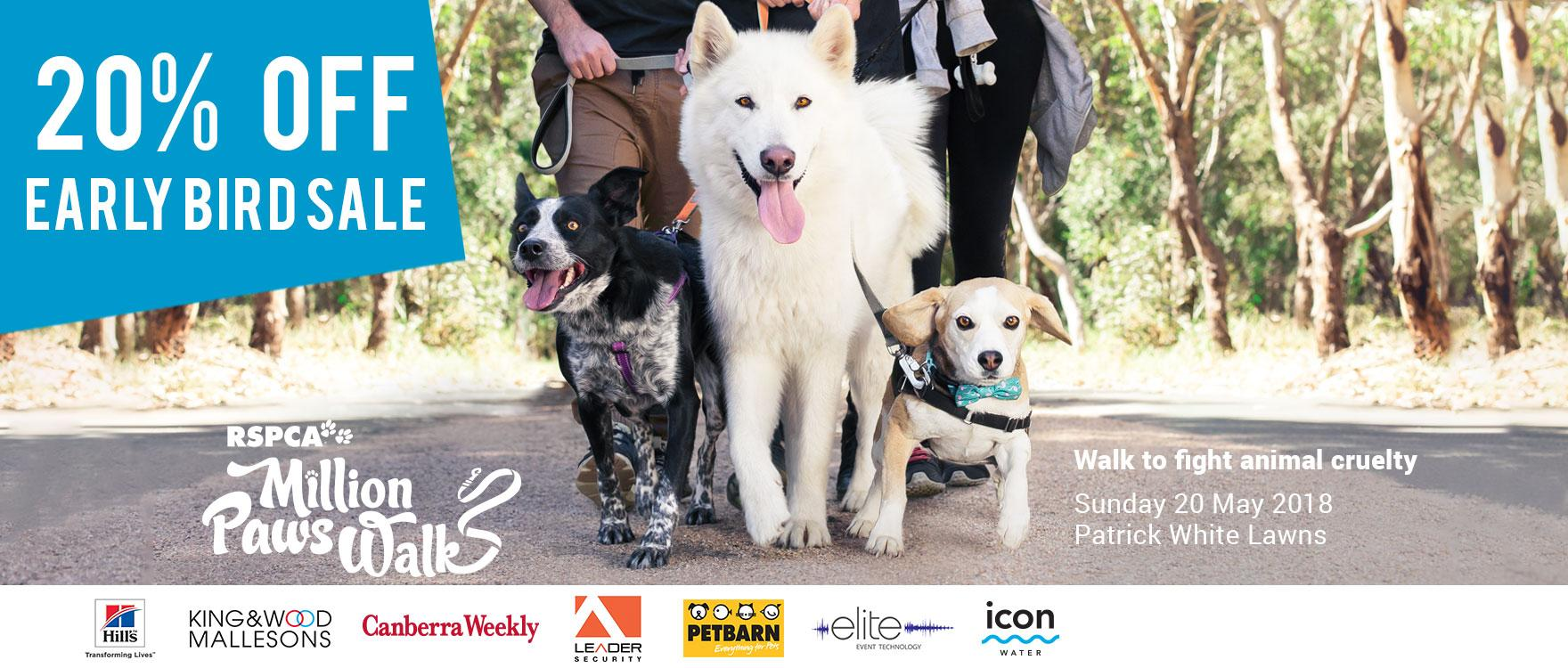 Million Paws Walk Early Bird Sale now on